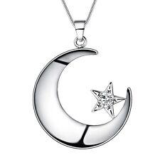 wholesale new 925  silver jewelry exquisite Moon and stars necklace