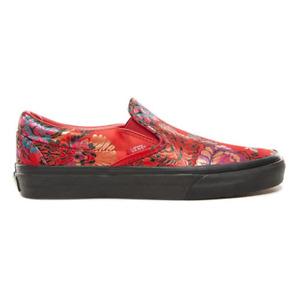 NEW VANS Classic Slip On Festival Satin red black women's men's shoe VN0A38F7ULP