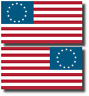 2x USA American Flag Bumper Sticker Decal Betsy Ross 13 Colonies US Patriotic