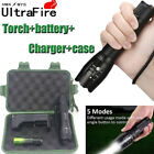 UltraFire 50000LM T6 Zoomable LED Flashlight Torch+18650 Battery+Charger Case