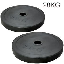 "2"" Olympic Rubber Coated Plates 20kg Weight Lifting Bar 5cm Disc Pair Gym"
