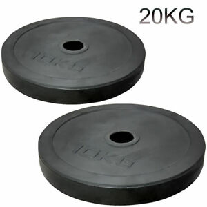 """2"""" Olympic Rubber Coated Plates 20kg Weight Lifting Bar 5cm Disc Pair Gym"""