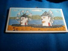 "Vintage Handpainted Greek Tile - 3"" x 6"" - Windmills"