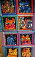 Laurel Burch Feline Frolic Cat Blocks Panel  w/Gold Met , Free Shipping