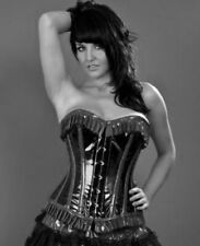 Black Faux Leather Boned Moulin Rouge Hook Basque Corset Valentines + Thong