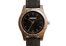 Lincoln Black Sandalwood and Suede Watch by COWAN BROWN