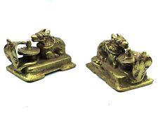 Ancien Taureau Nandi Shiva Lingam Naga bronze fonte d'or Inde du Nord 18e