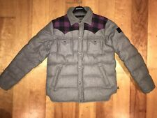 Penfield Rockford Down feather Puffer Bomber Jacket Mens Size M Grey Purple