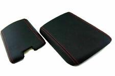 Pvc Leather Center Console Lid Armrest Fits Mazda Rx8 04 08 Black Red Stitch