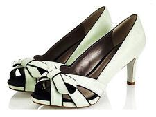 New Jacques Vert  Light green Black Trim Shantung Shoes ~  RRP £99 ~ 7/40   (MB)