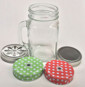 500ml Glass Mason Jar - Drinking Cup With Handle    - Select Lid Colour / Design