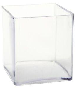 *SECONDS* Clear Acrylic Cube Vase Plastic Square Container 15cm³ & 10cm³ Sizes