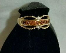 FROM ESTATE SALE  14KT GOLDEN SAPPHIRE & DIAMOND RING