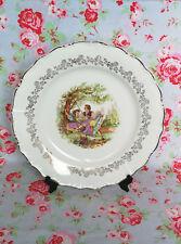 Sarreguemines Grand Plat en Porcelaine Vaisselle Ancienne Couple Fragonard Rococ
