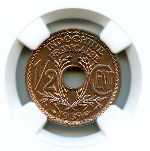 Indochine Française 1/2 Cent 1939 NGC MS 66 RB