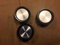"3 Vintage Black & Silver Pointer 1 3/8"" Knobs 1964 D shaft Stereo Guitar Amp"