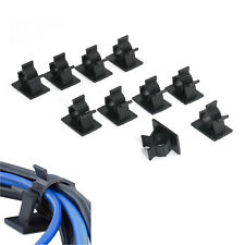 10x Cable Clips Adhesive Cord Management Black Wire Holder Organizer Clamp