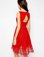 KAREN MILLEN Red Embroidered Organza Dress UK 12 BRAND NEW WITH TAGS Full Skirt