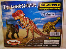 """3D PRE-COLORED WOOD PUZZLE """"TYRANNOSAURUS"""" BY PUZZLED"""