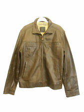 MEN`S GENUINE LEATHER STYLISH BROWN JACKET SIZE SMALL by BLUE HARBOUR (M-52)