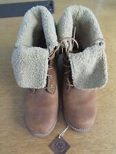 "TIMBERLAND LADIES 6"" SHEARLING BROWN LEATHER FOLD DOWN BOOTS UK SIZE 5 EU 38"
