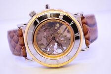 El rey obra skeleton funcionan señores reloj de pulsera reloj marrón bicolor cuero genuino