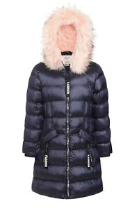 Charcoal Fashion Girl's High Shine Navy Fur Lined Puffer Coat with Pink Fur