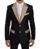 DOLCE & GABBANA Blazer Jacket Black Beige Silk Slim IT46 / US36 / S RRP $2600