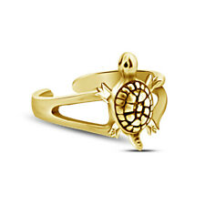 Turtle Adjustable Toe Ring For Womens 14K Yellow Gold Finish Sterling Silver