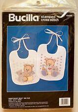 SWEETHEART BEAR BIB PAIR,SEALED STAMPED CROSS-STITCH KIT,40449,BUCILLA,1990,VINT