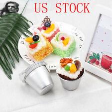 6Pcs Aluminum Mini Non-stick Round Cake Baking Mould Pan Pudding Bakeware Tool