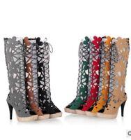 Sommer Stiefel Blockabsatz Peep Toe Schuhe Damen Mode Riemen Hoehe Absatz