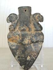 Antico Amuleto Cinese intagliato in Pietra nera dura,Stemma nobiliare