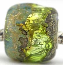 PERIDOT GEODE glass lampwork European charm bead Mandy Ramsdell sterling silver