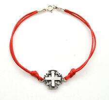 "Jerusalem Cross 925 sterling silver Red String bracelet 7"" gift boxed"
