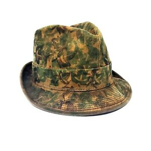 Vintage Brent Leather Fedora Hat Montgomery Ward Camouflage patter 7 1/8
