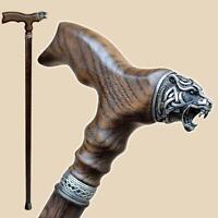 Handcrafted Wooden Walking Stick Canes for Men - Celtic Bear - Vintage Wood Cane