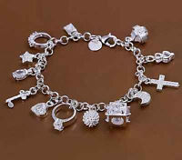 Armband Eternal Armkette Armschmuck Silber Damen Kette Zirkonia 13-Anhänger B3X6