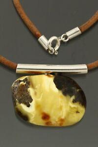 Genuine BALTIC AMBER Leather String Silver Egg Yolk Pendant 13g 210728-6