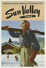 VINTAGE SUN VALLY USA SKIING SKI TRAVEL A3 POSTER PRINT