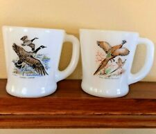 2 Vintage Fire King Game Bird D Handle Milk Glass Mugs- Pheasant & Canada Goose