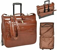 Real Tan Leather Suit Carrier Travel Weekend Bag on Wheels Telescopic Handle