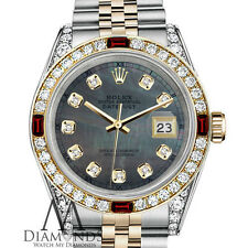 Women's Rolex Steel & Gold 31mm Datejust Watch Black MOP Dial Ruby & Diamond