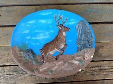 Jumping Deer Buck Ceramic Plate