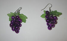 Grapes Earrings Purple Bells Leaves Pierced Fish Hook Style New