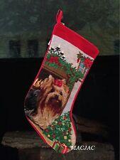 Yorkie Dog Needlepoint Christmas Stocking NWT