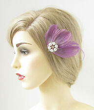 Light Purple Peacock Feather Fascinator Hair Clip Silver Vintage Pearl 1920s 190