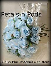 LIGHT BLUE  ROSES SKY  POSY WEDDING BRIDES BOUQUET STEM ARTIFICIAL SILK FLOWERS