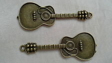 2 x Large 'Guitar' - AntiqueBronze -Jewellery Making , Scrapbooking,Cardmaking