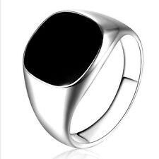 Solid Polished Stainless Steel Band Biker Men Signet Ring Black Silver Size 7-10